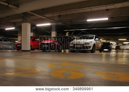Most, Czech Republic - January 29, 2020: Underground Parking In Oc Central Shop