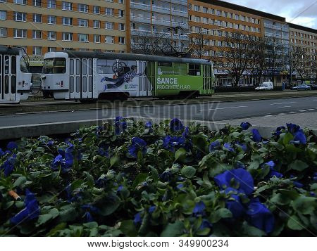 Most, Czech Republic - January 29, 2020: Tram On Trida Budovatelu Street In Cloudy Afternoon
