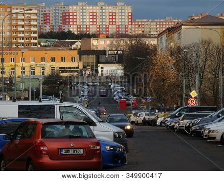 Most, Czech Republic - January 29, 2020: 1. Cars And Houses On Street In Centre Of City In Cloudy Af