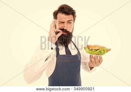 Finger Licking Good. Bearded Man Enjoy Food Taste. Cook Chef Taste Cooked Dish. Taste Testing. Meals