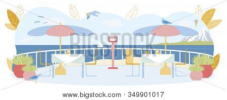 Beach Open Restaurant Or Cafe With Beautiful View On Sea Skyline. Dining Tables With Sun Protective