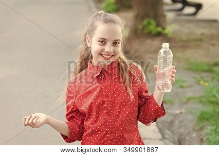 Drink Water While Walk. Teach Kids About Body Hydration. Healthy Habits. Healthy And Hydrated. Girl