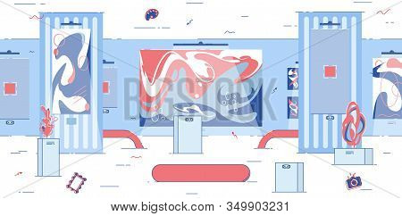 Futuristic Interior For Virtual Reality Attraction. Streamline Form Furniture. Stands For Individual