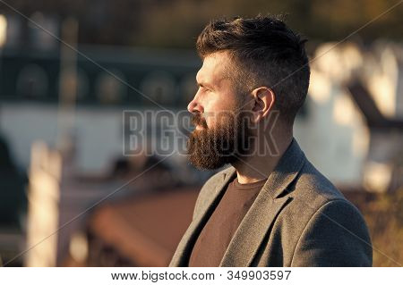 His Bearded Hair Look Styled. Bearded Man Outdoor. Bearded Hipster In Casual Business Style. Brutal