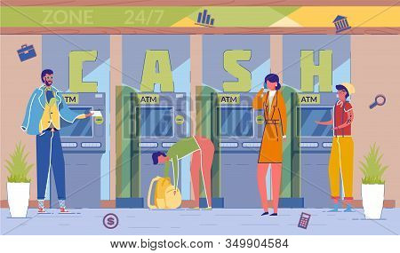Atm Cash Withdrawal Service Word Concept Banner. Bank Clients Withdrawing Money From Automatic Telle
