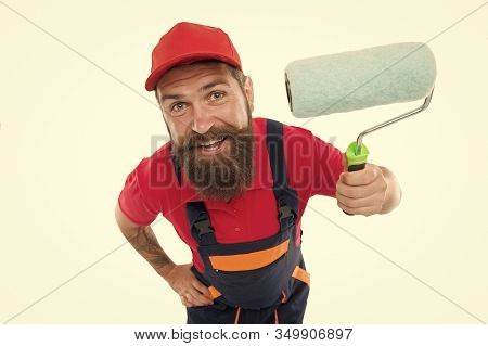 Skillful And Professional Painter. Bearded Man Painter Isolated On White. Wall Painter With Painting