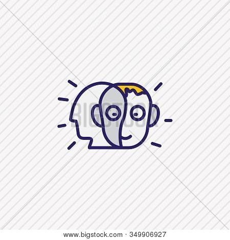 Vector Illustration Of Alter Ego Icon Colored Line. Beautiful Emoticon Element Also Can Be Used As P