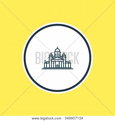 Vector Illustration Of Helinski Cathedral Icon Line. Beautiful Culture Element Also Can Be Used As C