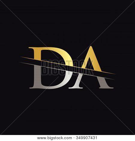 Initial Da Letter Logo Design Vector With Gold And Silver Color. Da Logo Design