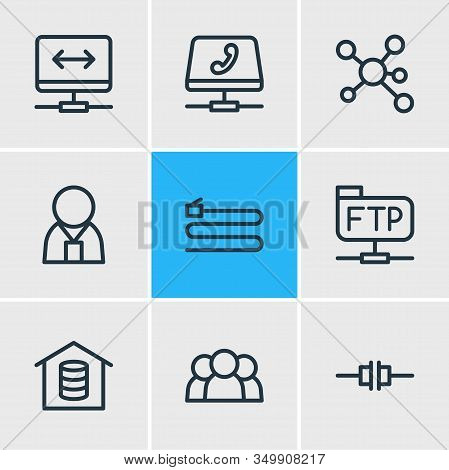 Vector Illustration Of 9 Internet Icons Line Style. Editable Set Of Root Server, Voip Gateway, Admin