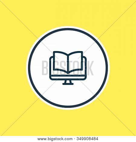 Vector Illustration Of Ebook Icon Line. Beautiful Book Reading Element Also Can Be Used As Online Re