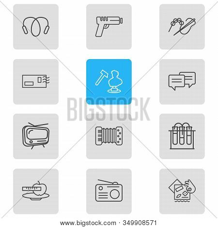 Vector Illustration Of 12 Lifestyle Icons Line Style. Editable Set Of Sculpting, Radio, Beading And