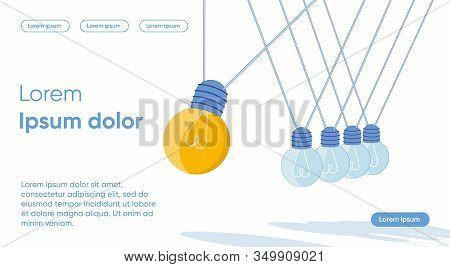 Retro Electric Bulbs Hanging On Cord. Bright Idea, Creative Mind And Artistic Imagination. Inspirati