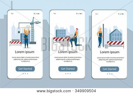 Mobile App Page Onboard Screen Set With Builder At Construction Site. Building, Roof Overlapping And