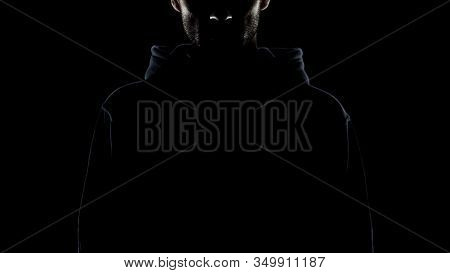 Bearded Man Invisible In Night Darkness, Secret Gangster, Lawless Intention