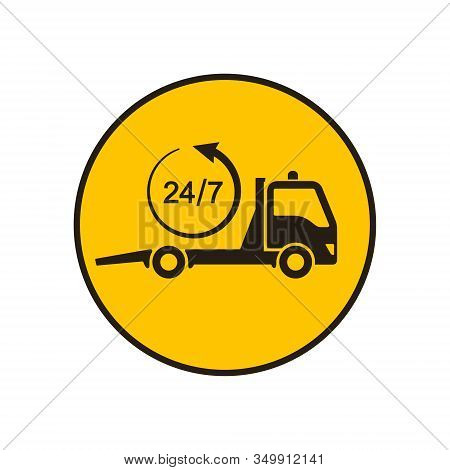 Tow Truck Icon, Towing Truck Advertising 24h Sign. Vector Isolated Flat Design Illustration.
