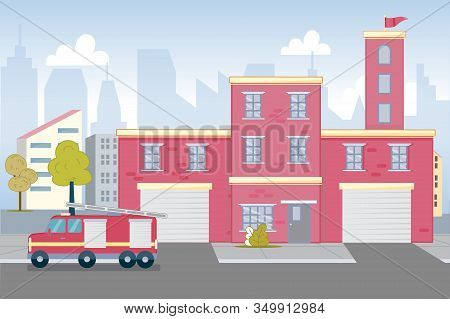 Cityscape With Modern Fire Station Red Brick Building. Fire Department. Parked Firefighter Truck Wit