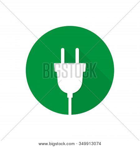 Plug Icon, Vector Plug Isolated On Circle In Flat Design Illustration.