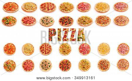 Set Of Pizza Isolated On White Background And The Textured Word