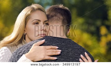 Sad Couple Embracing, Goodbying Before Parting, Military Service Draft, Farewell