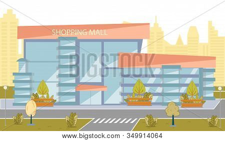 Modern Shopping Mall Building With Glass Exterior. City Business Storefront. Large Marketplace Facad