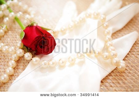 Rose And Pearls With Vintage Glove