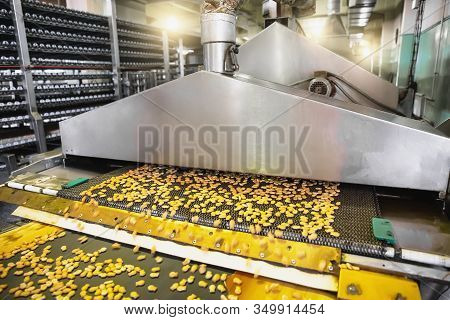 Industrial Food Production Process. Factory Or Bakery Conveyor Belt With Cakes. Automation Manufactu