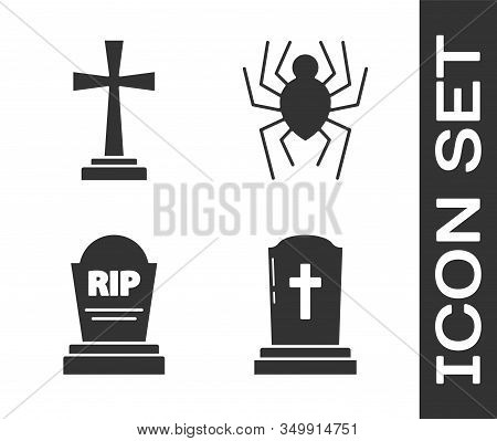 Set Tombstone With Cross , Tombstone With Cross , Tombstone With Rip And Spider Icon. Vector
