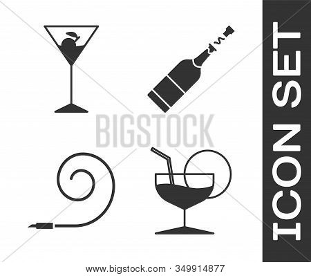 Set Martini Glass , Martini Glass , Birthday Party Horn And Champagne Bottle Icon. Vector