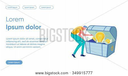 Valuable Idea Flat Landing Page Vector Template. Knowledge, Study Result Metaphor. Man Opening Chest