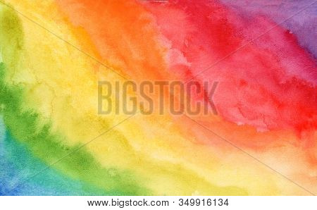 Bright Diagonal Striped Rainbow Watercolor Abstract Background. Tender Nature Hand Drawn Colorful Vi