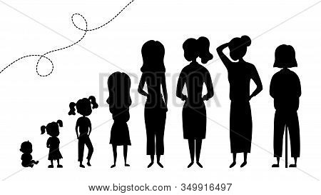 Collection Of Black Silhouettes Of Female Age. Development Of Women From The Child To The Elderly. S