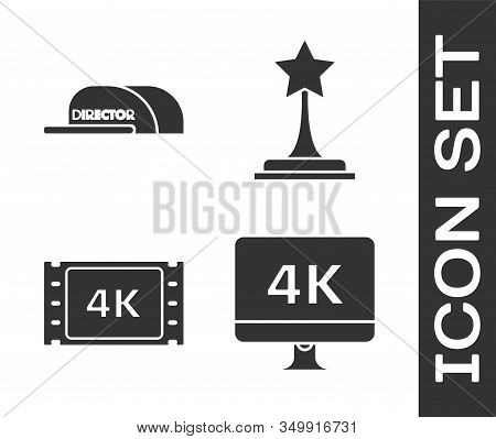 Set Computer Pc Monitor With 4k Video Technology , Cap With Inscription Director , 4k Movie, Tape, F