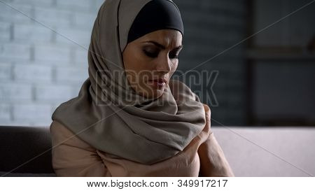 Abused Arab Female Thinking Of Troubles, Desperate Woman Worrying, Anxiety