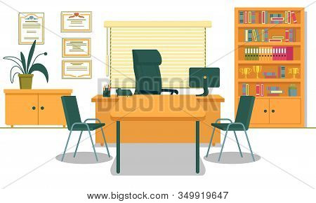 Office With Necessary Furnishing And Computer On Desk. School Principals Working Place. Table And Tw