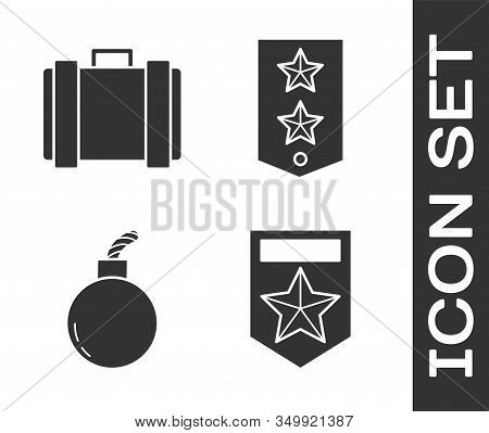 Set Chevron , Military Ammunition Box, Bomb Ready To Explode And Chevron Icon. Vector