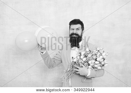 Flowers Delivery. Gentleman Romantic Date. Birthday Greetings. Confidence And Charisma. Man Bearded