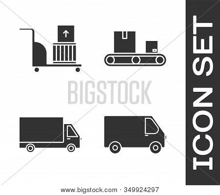 Set Delivery Cargo Truck Vehicle , Electric Hand Truck And Boxes , Delivery Cargo Truck Vehicle And