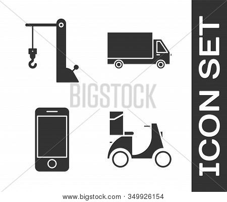 Set Scooter Delivery , Harbor Port Crane, Mobile Phone With App Delivery Tracking And Delivery Cargo