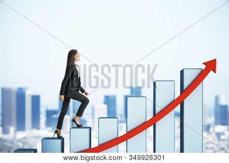 Businesswoman Rises On Success Chart With Red Arrow On City Background. Success And Startup Concept.