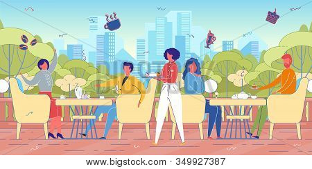 Megapolis Cityscape Background With People Cartoon Characters Sitting In Street Cafe Or External Res