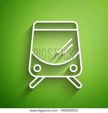 White Line Tram And Railway Icon Isolated On Green Background. Public Transportation Symbol. Vector