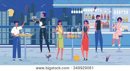 Rooftop Bar Or Nightclub Furnishing, Staff And Visitors On Night Cityscape Background. People Cartoo