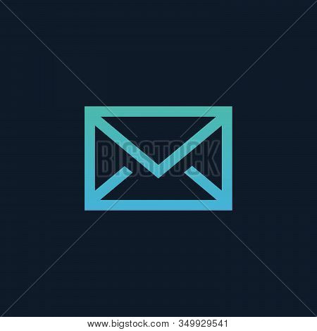 Envelope Icon, Messages Or Email Button. Stock Vector Illustration Isolated On Blue Background.