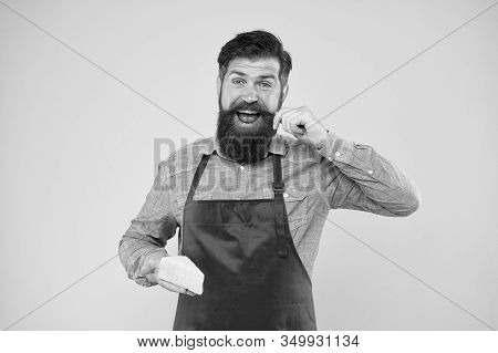 Gourmet Product. Cheesemaking Concept. Cheese Maker. Bearded Man In Apron Hold Piece Cheese. Dairy P