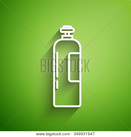 White Line Industrial Gas Cylinder Tank For All Inert And Mixed Inert Gases Icon Isolated On Green B
