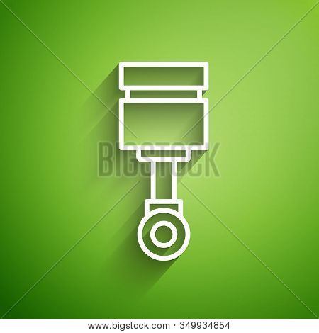 White Line Engine Piston Icon Isolated On Green Background. Car Engine Piston Sign. Vector Illustrat