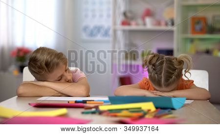 Tired Children Falling Asleep Sitting At Desk, Exhausting After-school Education