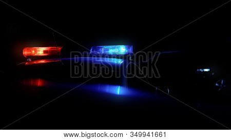 Patrol Car Driving Along Night City With Flashing Lights Public Order Protection