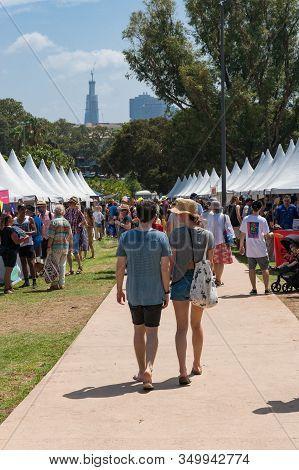 Sydney, Australia - January 26, 2020: Crowd Of People At Marketplace At Yabun Aboriginal Festival In